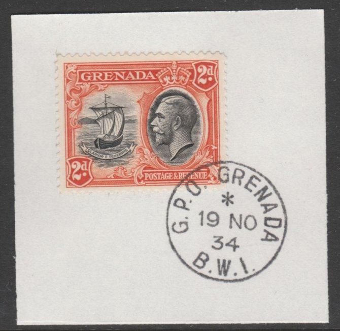 Grenada 1934-36 KG5 Pictorial 2d black & orange (SG 138) on piece with full strike of Madame Joseph forged postmark type 201