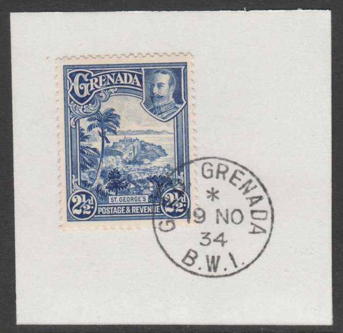 Grenada 1934-36 KG5 Pictorial 2.5d blue (SG 139) on piece with full strike of Madame Joseph forged postmark type 201
