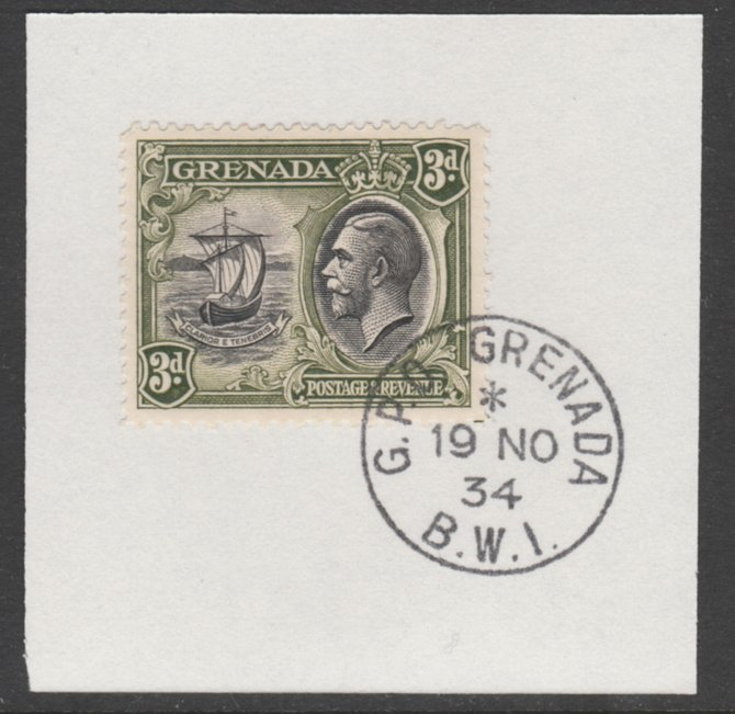 Grenada 1934-36 KG5 Pictorial 3d black & olive-green (SG 140)on piece with full strike of Madame Joseph forged postmark type 201
