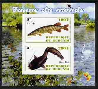 Burundi 2011 Fauna of the World - Fish #2 (Pike & Catfish) imperf sheetlet containing 2 values unmounted mint
