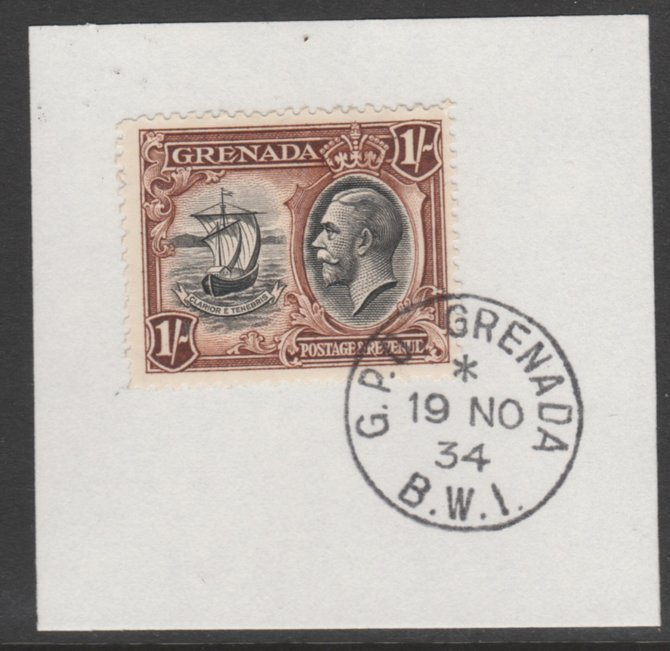 Grenada 1934-36 KG5 Pictorial 1s black & brown (SG 142) on piece with full strike of Madame Joseph forged postmark type 201