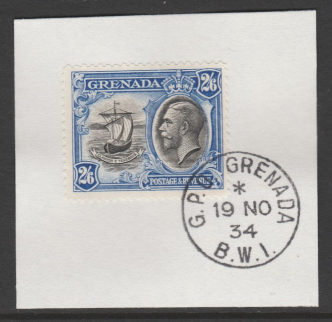 Grenada 1934-36 KG5 Pictorial 2s6d black & ultramarine (SG 143) on piece with full strike of Madame Joseph forged postmark type 201