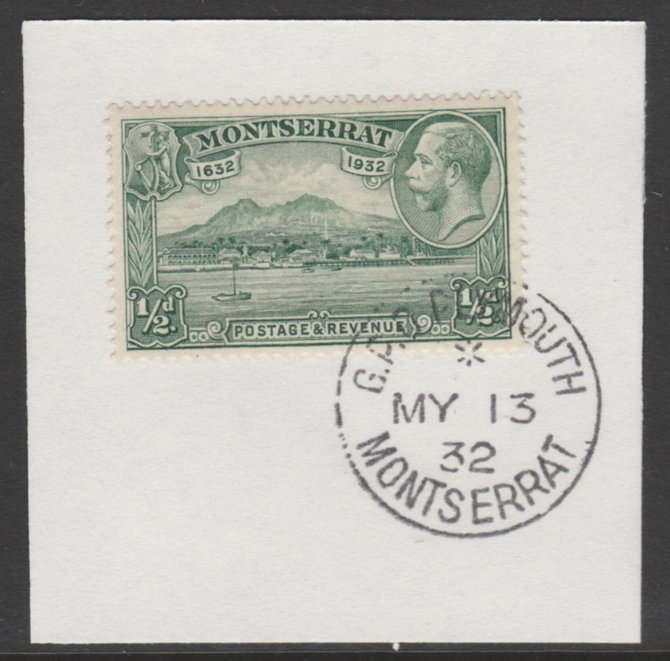 Montserrat 1932 KG5 Pictorial 1/2d green (SG 84) on piece with full strike of Madame Joseph forged postmark type 258