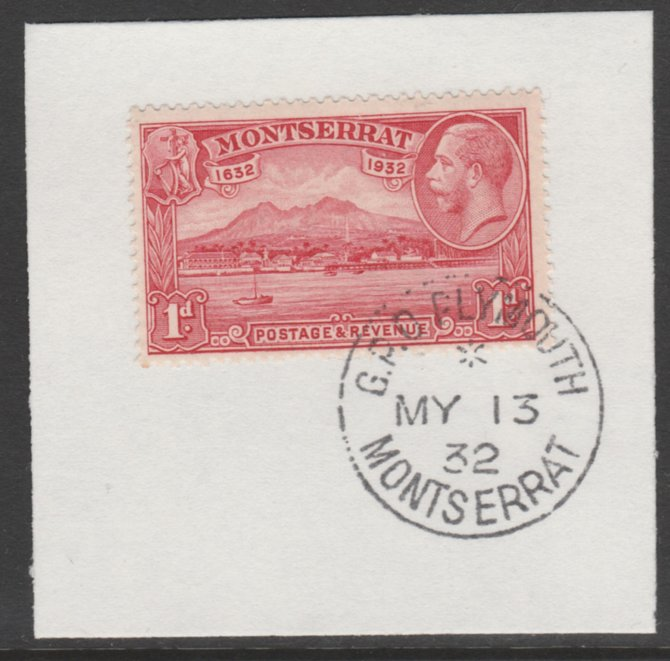Montserrat 1932 KG5 Pictorial 1d scarlet (SG 85) on piece with full strike of Madame Joseph forged postmark type 258