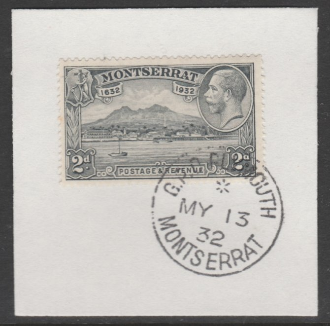 Montserrat 1932 KG5 Pictorial 2d grey (SG 87) on piece with full strike of Madame Joseph forged postmark type 258