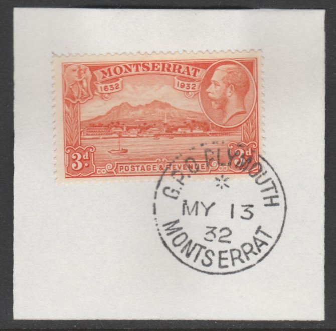 Montserrat 1932 KG5 Pictorial 3d orange (SG 89) on piece with full strike of Madame Joseph forged postmark type 258