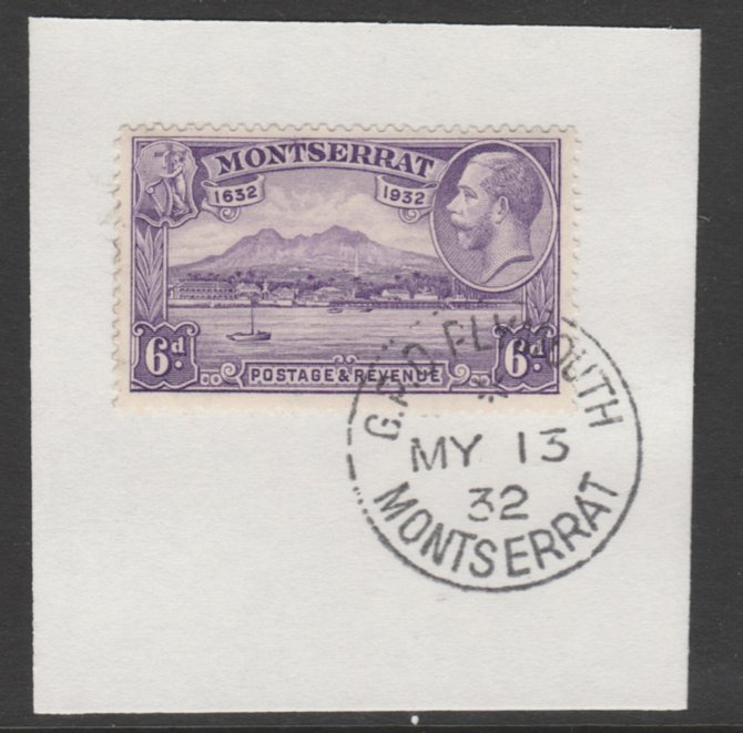Montserrat 1932 KG5 Pictorial 6d violet (SG 90) on piece with full strike of Madame Joseph forged postmark type 258