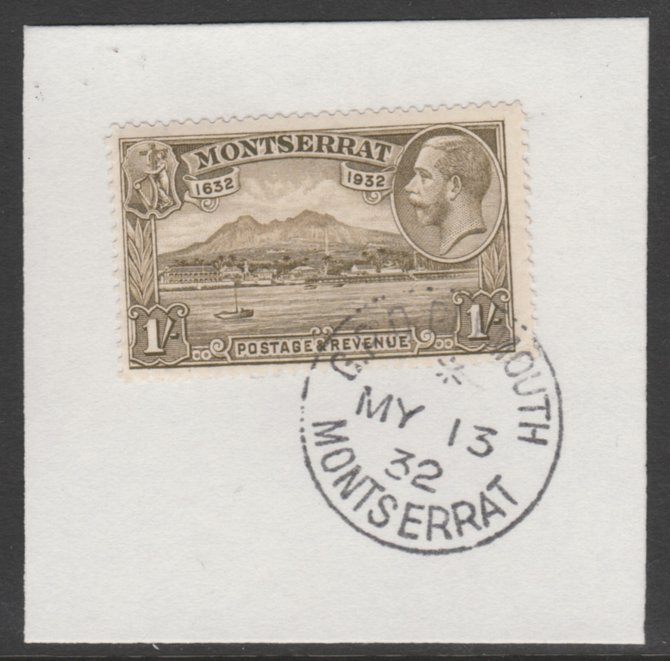 Montserrat 1932 KG5 Pictorial 1s olive-brown (SG 91) on piece with full strike of Madame Joseph forged postmark type 258
