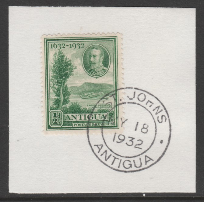 Antigua 1932 KG5 Tercentenary 1/2d green SG 81 on piece with full strike of Madame Joseph forged postmark type 14