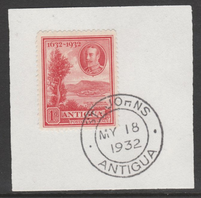 Antigua 1932 KG5 Tercentenary 1d scarlet SG 82 on piece with full strike of Madame Joseph forged postmark type 14
