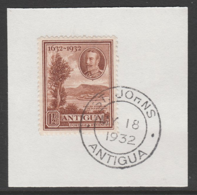 Antigua 1932 KG5 Tercentenary 1.5d brown SG 83 on piece with full strike of Madame Joseph forged postmark type 14
