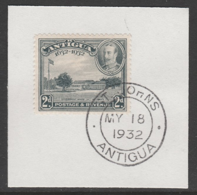 Antigua 1932 KG5 Tercentenary 2d grey SG 84 on piece with full strike of Madame Joseph forged postmark type 14