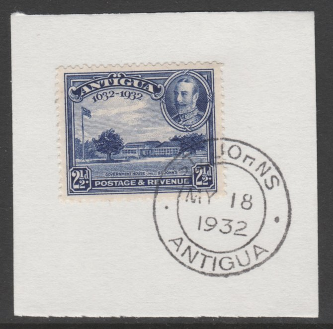 Antigua 1932 KG5 Tercentenary 2.5d deep blue SG 85 on piece with full strike of Madame Joseph forged postmark type 14