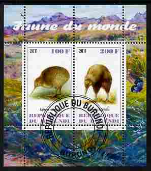 Burundi 2011 Fauna of the World - Kiwis perf sheetlet containing 2 values fine cto used