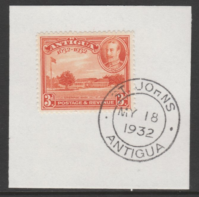 Antigua 1932 KG5 Tercentenary 3d orange SG 86 on piece with full strike of Madame Joseph forged postmark type 14
