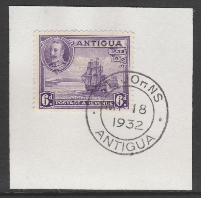Antigua 1932 KG5 Tercentenary 6d violet SG 87 on piece with full strike of Madame Joseph forged postmark type 14
