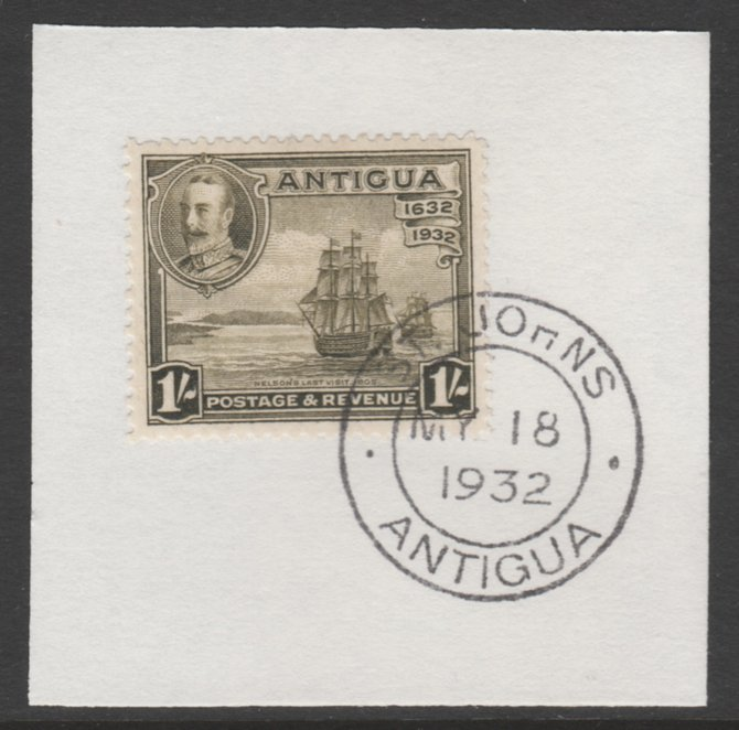 Antigua 1932 KG5 Tercentenary 1s olive-green SG 88 on piece with full strike of Madame Joseph forged postmark type 14