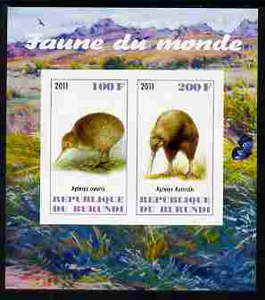 Burundi 2011 Fauna of the World - Kiwis imperf sheetlet containing 2 values unmounted mint