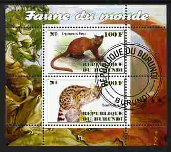 Burundi 2011 Fauna of the World - Wild Cats #1 perf sheetlet containing 2 values fine cto used