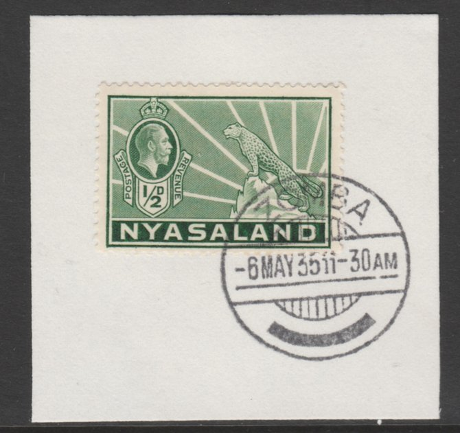 Nyasaland 1934-35 KG5 Leopard Symbol 1/2d green SG 114 on piece with full strike of Madame Joseph forged postmark type 314