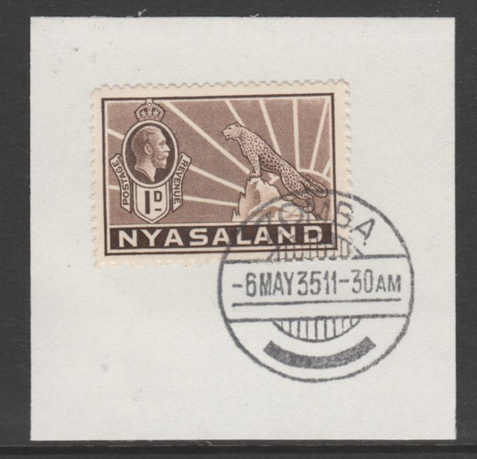 Nyasaland 1934-35 KG5 Leopard Symbol 1d brown SG 115 on piece with full strike of Madame Joseph forged postmark type 314