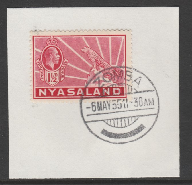 Nyasaland 1934-35 KG5 Leopard Symbol 1.5d carmine SG 116 on piece with full strike of Madame Joseph forged postmark type 314