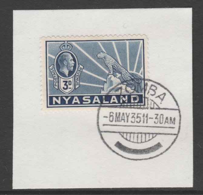 Nyasaland 1934-35 KG5 Leopard Symbol 3d blue SG 118 on piece with full strike of Madame Joseph forged postmark type 314