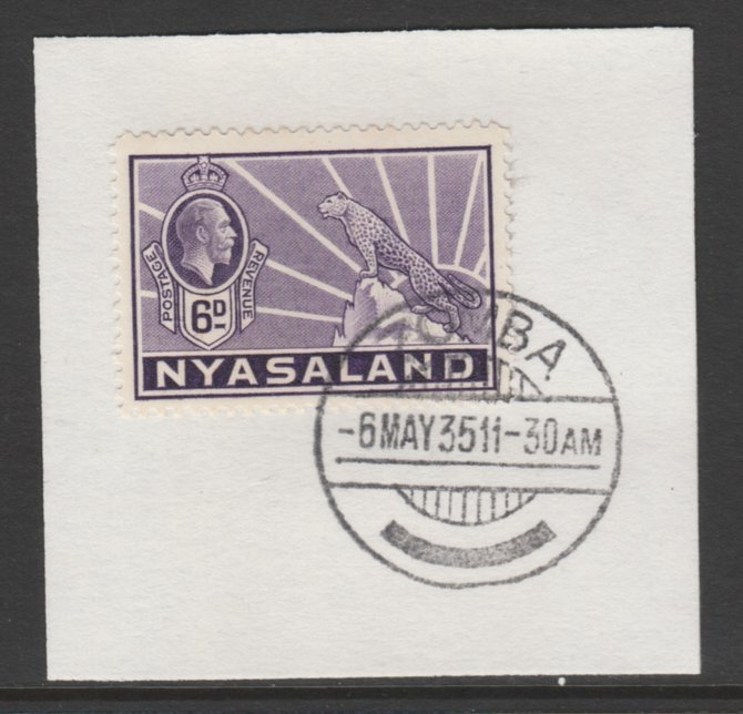 Nyasaland 1934-35 KG5 Leopard Symbol 6d violet SG 120 on piece with full strike of Madame Joseph forged postmark type 314