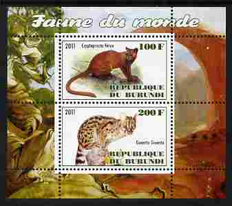 Burundi 2011 Fauna of the World - Wild Cats #1 perf sheetlet containing 2 values unmounted mint