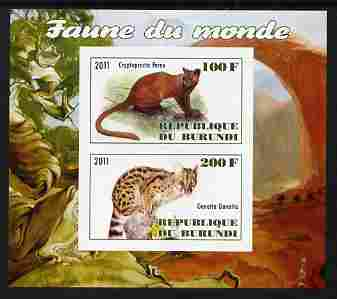 Burundi 2011 Fauna of the World - Wild Cats #1 imperf sheetlet containing 2 values unmounted mint