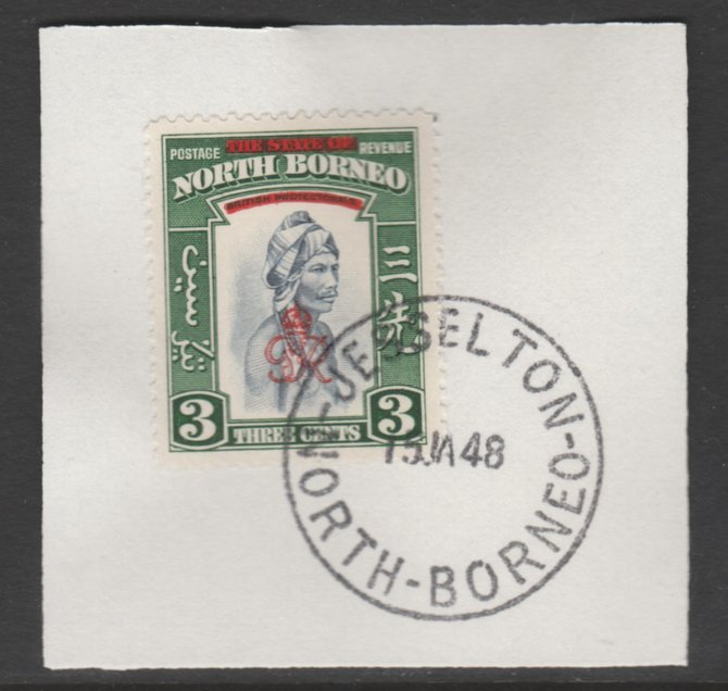 North Borneo 1947 KG6 Crown Colony 3c SG 337 on piece with full strike of Madame Joseph forged postmark type 311