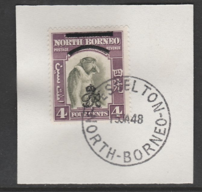 North Borneo 1947 KG6 Crown Colony 4c SG 338 on piece with full strike of Madame Joseph forged postmark type 311