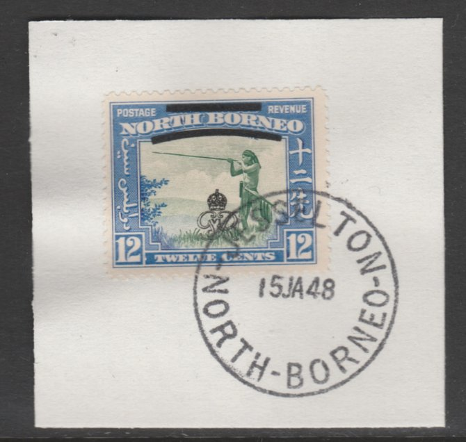 North Borneo 1947 KG6 Crown Colony 12c SG 342 on piece with full strike of Madame Joseph forged postmark type 311