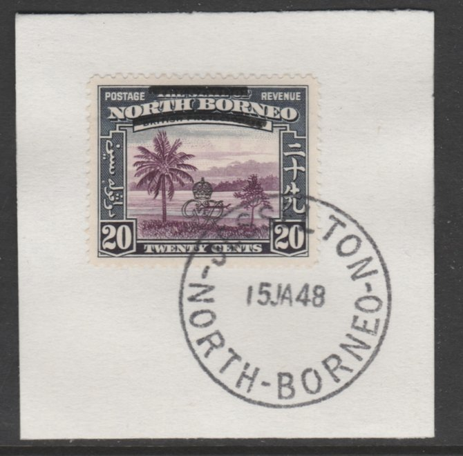 North Borneo 1947 KG6 Crown Colony 20c SG 344 on piece with full strike of Madame Joseph forged postmark type 311