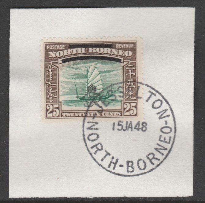 North Borneo 1947 KG6 Crown Colony 25c SG 345 on piece with full strike of Madame Joseph forged postmark type 311