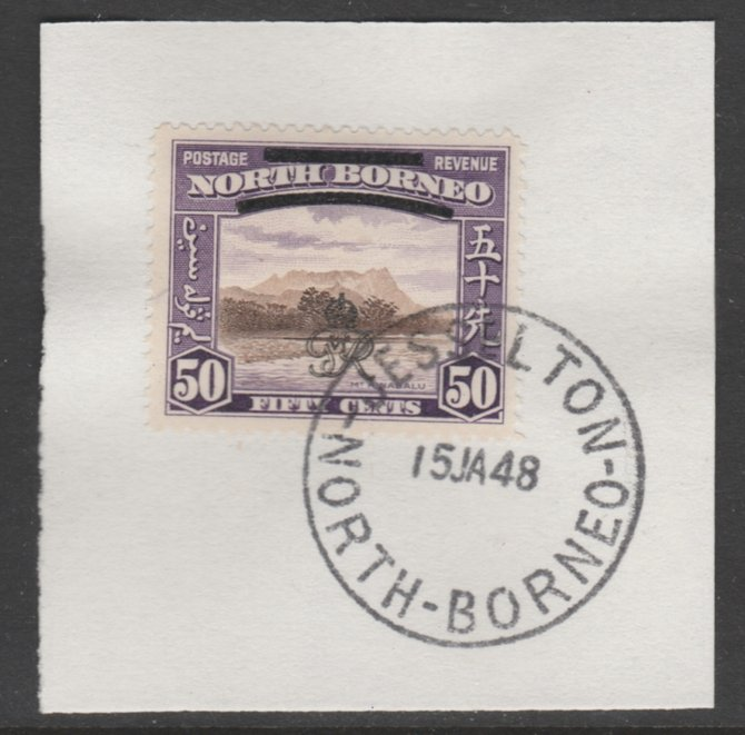 North Borneo 1947 KG6 Crown Colony 50c SG 346 on piece with full strike of Madame Joseph forged postmark type 311