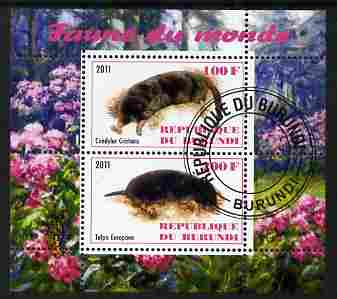 Burundi 2011 Fauna of the World - Moles perf sheetlet containing 2 values fine cto used