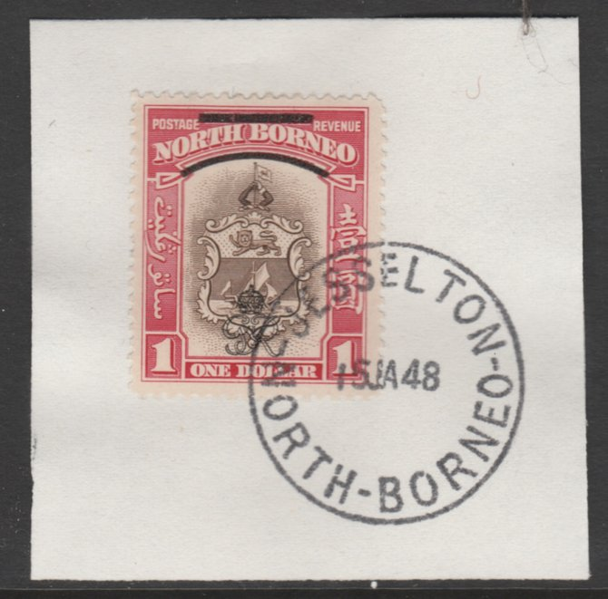 North Borneo 1947 KG6 Crown Colony $1 SG 347 on piece with full strike of Madame Joseph forged postmark type 311