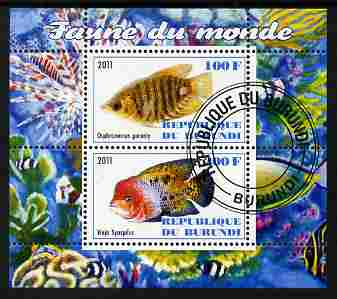 Burundi 2011 Fauna of the World - Fish #1 (Gourami & Vieja) perf sheetlet containing 2 values fine cto used