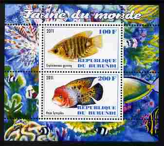 Burundi 2011 Fauna of the World - Fish #1 (Gourami & Vieja) perf sheetlet containing 2 values unmounted mint