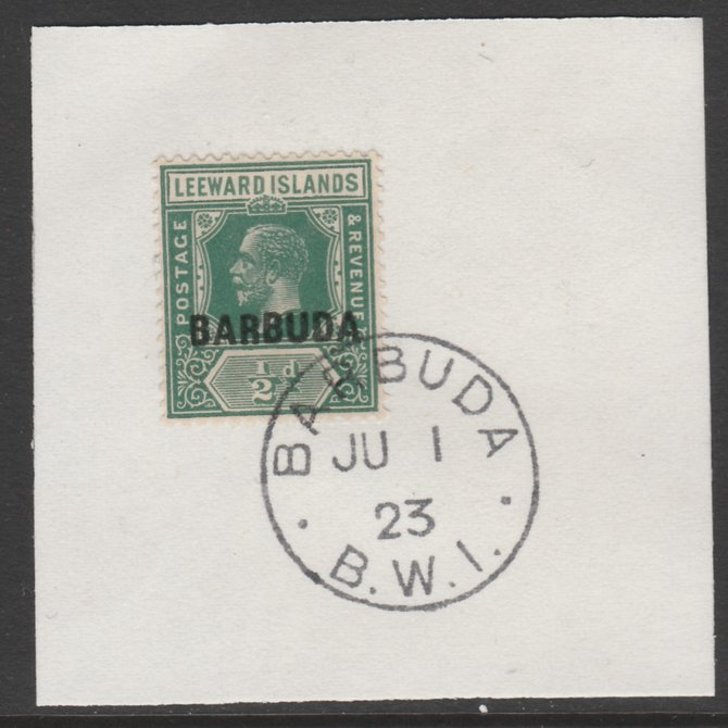 Barbuda 1922 overprint on Leeward Islands 1/2d green SG 1 on piece with full strike of Madame Joseph forged postmark type 50
