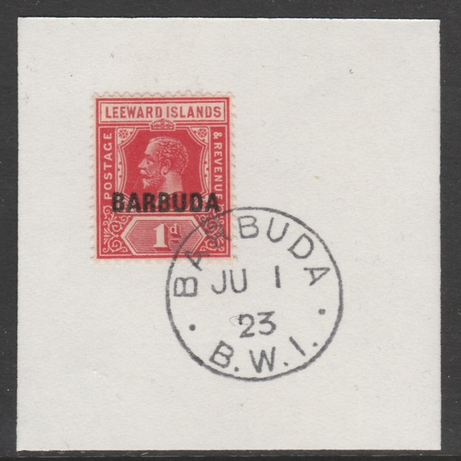 Barbuda 1922 overprint on Leeward Islands 1d scarlet SG 2 on piece with full strike of Madame Joseph forged postmark type 50
