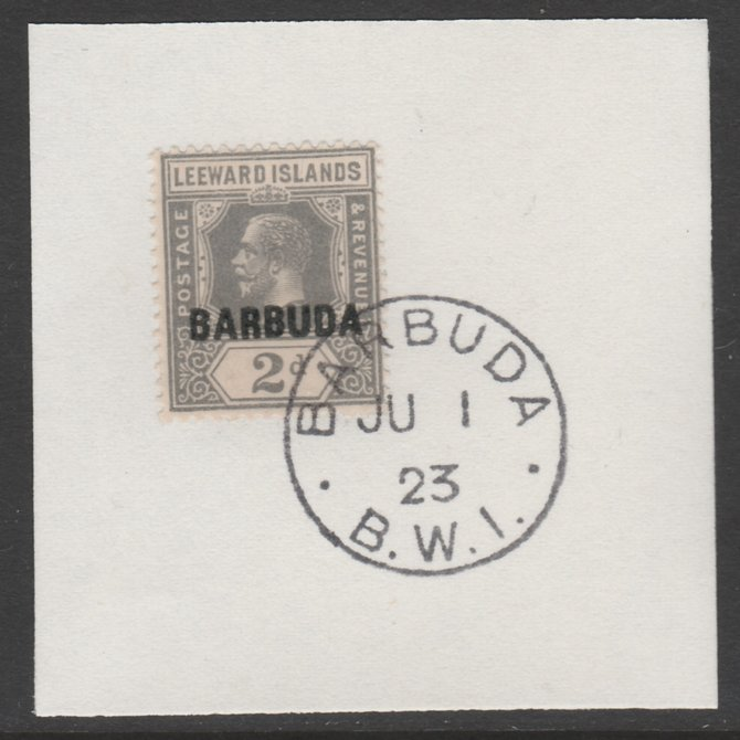 Barbuda 1922 overprint on Leeward Islands 2d grey SG 3 on piece with full strike of Madame Joseph forged postmark type 50