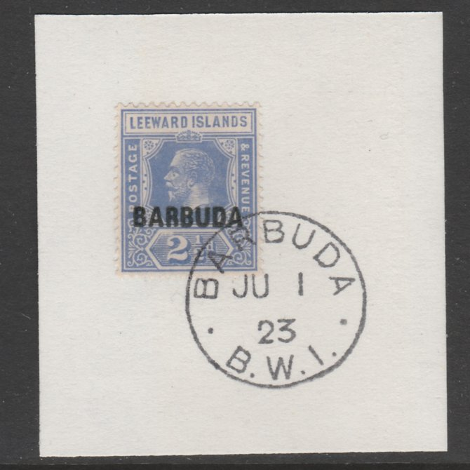 Barbuda 1922 overprint on Leeward Islands 2.5d bright blue SG 4 on piece with full strike of Madame Joseph forged postmark type 50