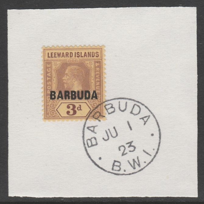 Barbuda 1922 overprint on Leeward Islands 3d purple on pale yellow SG 9 on piece with full strike of Madame Joseph forged postmark type 50