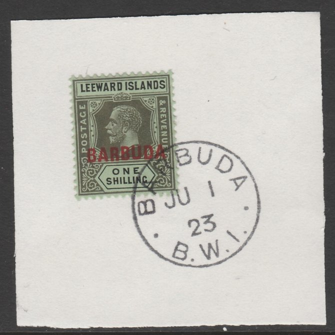 Barbuda 1922 overprint on Leeward Islands 1s black on emerald SG 10 on piece with full strike of Madame Joseph forged postmark type 50