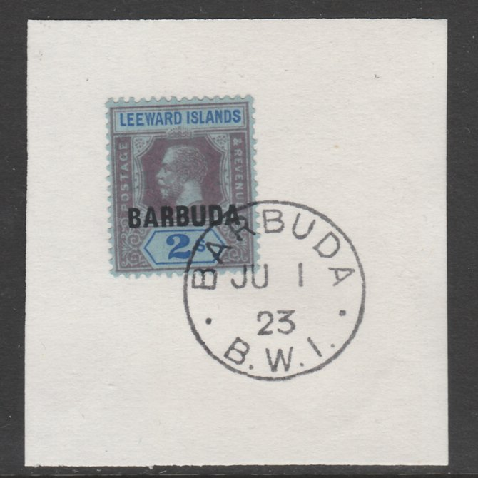 Barbuda 1922 overprint on Leeward Islands 2s purple & blue on blue SG 6 on piece with full strike of Madame Joseph forged postmark type 50