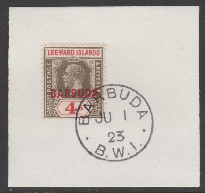 Barbuda 1922 overprint on Leeward Islands 4s black & red SG 8 on piece with full strike of Madame Joseph forged postmark type 50