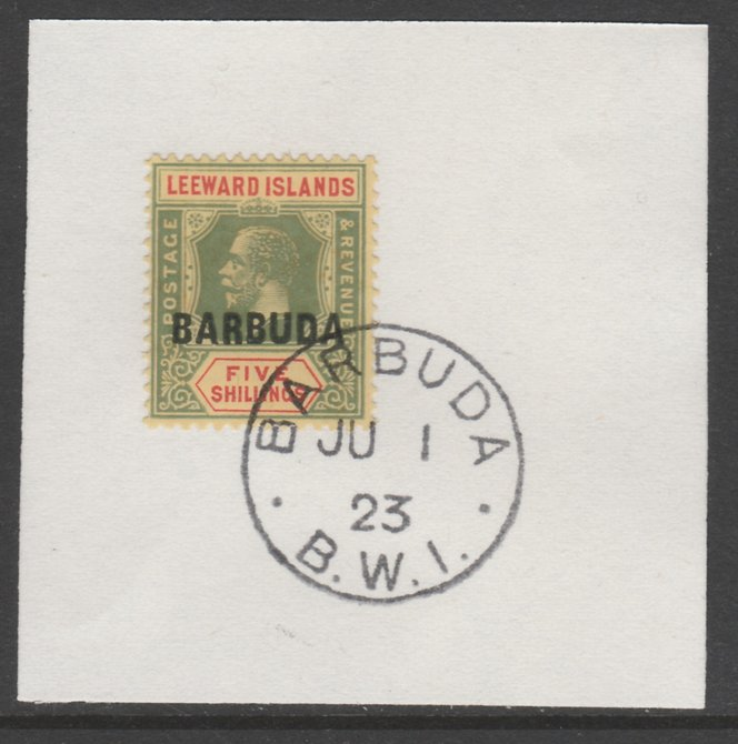 Barbuda 1922 overprint on Leeward Islands 5s green & red on yellow SG 11 on piece with full strike of Madame Joseph forged postmark type 50
