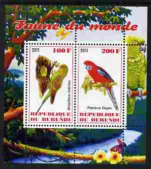 Burundi 2011 Fauna of the World - Parrots #2 perf sheetlet containing 2 values unmounted mint